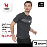 PROMO Baju Training Running Fitness Gym Waldos Workout Black CVC - Hitam, S