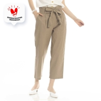 Classic Ribbon Pants Beatrice Clothing - Celana Bahan Wanita - Olive