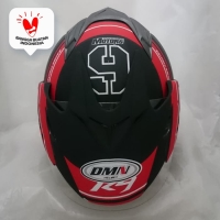 Helm DMN double visor R-9 Black doff Red bukan BXP GM KYT NHK INK