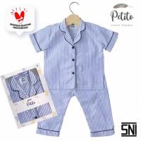 Petito piyama baju tidur bayi anak Blue Stripes - S 6-24 Bulan