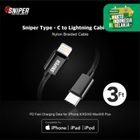 Sniper USB C To Lightning with PD and Quick Charge Cable + Pouch