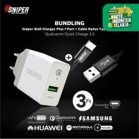 BUNDLING Sniper Wall Charger+1 QC 3.0 White & Nylon Braided Type C 3ft