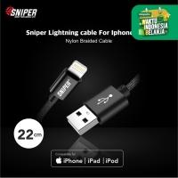 Sniper Cable Nylon Braided Lightning 1ft /0.3m - Black