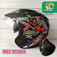 Helm 2 kaca (Double Visor) Murah Black doff Orange Duke BXP SNI