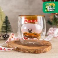UCHII Akita Xmas Gift Series Orenji Double Wall Coffee Gelas Eksklusif