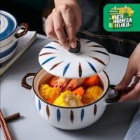 UCHII HACHI Ceramic Noodle Bowl Mangkuk Ramen Jepang Sup Keramik Grass