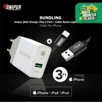 BUNDLING Sniper Wall Charger+1 QC 3.0 & Nylon Braided Lightning 3ft