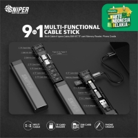 Sniper Multi-function Card Storage Data Cable Stick 9in1 - Black
