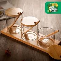 UCHII Premium 3 in 1 Glass Canister w/ Bamboo Set   Toples Bumbu Kaca