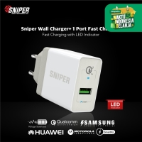 Sniper Wall Charger+ 1 Port Fast Charging Qualcomm QC 3.0 - White