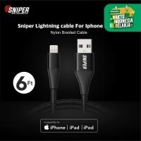 Sniper Cable Nylon Braided Lightning 6 feet /1.8m -Black
