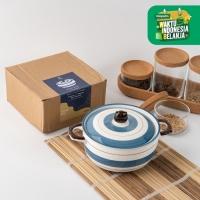 UCHII HACHI Ceramic Noodle Pot   Mangkuk Mie Sup Jepang Keramik Ripple