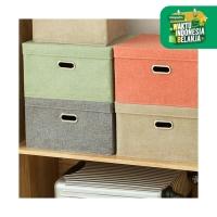 UCHII HAKO Portable Cotton Linen Cloth Storage Basket w/ Cover Handle