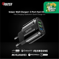 Sniper Wall Charger+ 3 Port Fast Charging Qualcomm QC 3.0