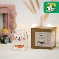UCHII Akita Happy Series Double Wall Drinking Cup   Gelas Gift Premium