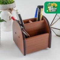 UCHII MOKUZAI Rotating Pen Holder Wood   Organizer Meja Kantor Kerja