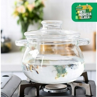 UCHII Glass Cooking Pot with Lid 3L Panci Tutup Kaca Borosilikat Large
