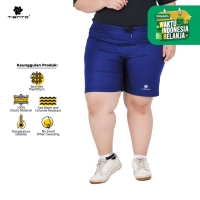 Tiento Short Running Pants Zipper Blue Celana Pendek Women Jumbo