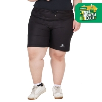 Tiento Short Running Pants with Zipper Black Resleting Women Jumbo