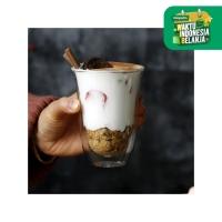 UCHII Double Wall Curve Drinking Glass Cup Gelas Kaca Ganda Heat Proof