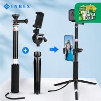 INBEX T5 Gopro Tripod+18.5cm Tripod+Phone Holder/Selfie Stick Tongsis