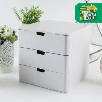 UCHII Minimalist Shiroi Drawer 3 Storage   Kotak Penyimpanan Serbaguna