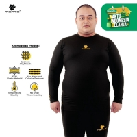 Tiento Baselayer Manset Tiento Baju Long Sleeve Black Gold Men Jumbo