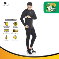 Tiento Baselayer Evolution Black Baju Legging Long Pants 1 stel