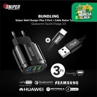 BUNDLING Sniper Wall Charger+3 QC 3.0 Black & Nylon Braided Type C 3ft