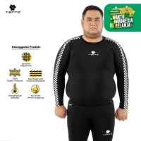 Tiento Baselayer Manset Olahraga Pria Long Sleeve Retro Race Men Jumbo