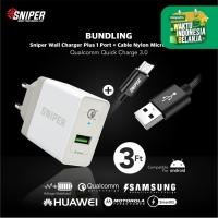 BUNDLING Sniper Wall Charger+1 QC 3.0 & Nylon Braided Micro USB 3ft