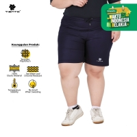 Tiento Short Running Pants Zipper Navy Celana Pendek Women Jumbo