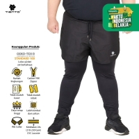 Tiento 2in1 Legging Pants Baselayer Celana Sporty Black Men Jumbo