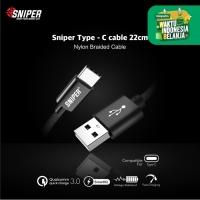 Sniper Cable Nylon Braided Type C 1ft /0.3m - Black