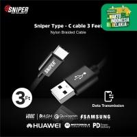 Sniper Cable Nylon Braided Type-C 3ft /0.9m -Black