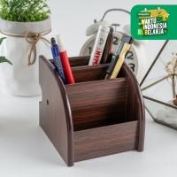 UCHII MOKUZAI Pen Stand Stationery Holder Kotak Pensil Alat Tulis Kayu