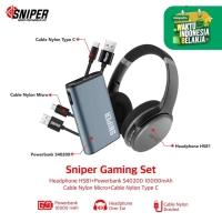 Sniper Gaming Set Headphone HS81 + Powerbank 10000mah + Micro + Type C
