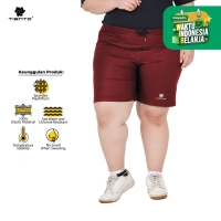 Tiento Short Running Pants Zipper Maroon Celana Pendek Women Jumbo