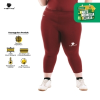 Tiento Baselayer Celana Legging Leging 3/4 Pants Women Maroon Jumbo