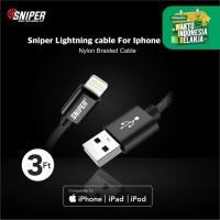 Sniper Cable Nylon Braided Lightning 3ft /0.9m - Black