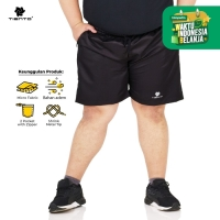Tiento Short Pants with Zipper Black Celana Lari Risleting Men Jumbo