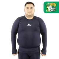Tiento Baju Baselayer Manset Olahraga Long Sleeve Navy Thumbhole Jumbo