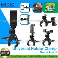 Universal Holder Clamp Plus U Midio Tripod Ringlight Penjepit Adjust