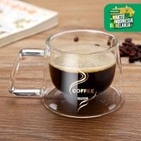 UCHII Double Wall Coffee Cup 200ml   Cangkir Kopi Kaca Dinding Ganda