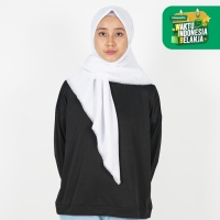 Saudia Jilbab Hijab Putih Segiempat Kerudung Rawis Voal Square