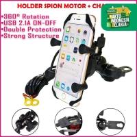 X-Grip Holder Spion Motor + Charger HP USB Bracket Handphone dg Saklar