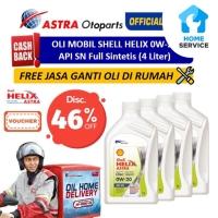 Oli Mobil Shell Helix 0W-20 API SN Sintetis (4 Ltr) + Free Ganti Oli