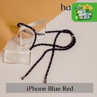 Casing hp iPhone tali biru dan corak merah hangoo