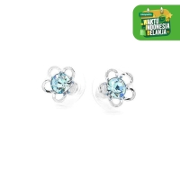 Anting Glamorousky Flower Shape Pair Earrings Blue Austrian Element