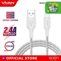 VIVAN Kabel Data iPhone Charger FL100S Braided Apple Lightning QC 2.4A